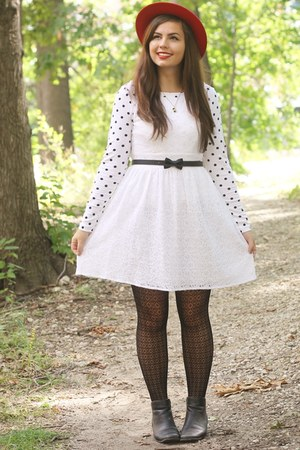 thrifted hat - thrifted boots - Delias dress