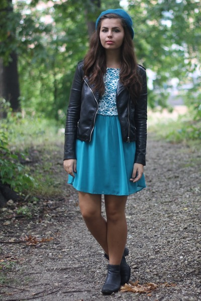 teal modcloth dress - black H&M jacket