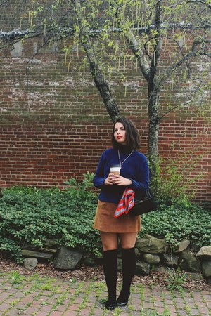 red christian dior scarf - navy thrifted sweater - dark brown thrifted skirt