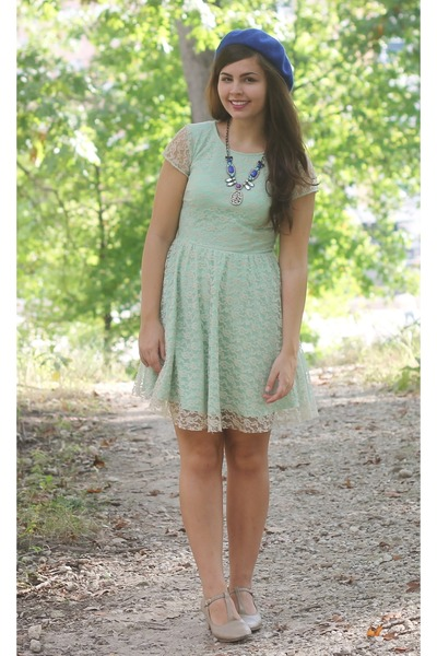 aquamarine Delias dress - navy Forever21 hat - silver Kristin Perry necklace