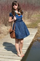 navy Forever21 dress - bronze thrifted purse - bronze Gaberiel Brothers sunglass