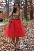 gold Faviana dress - red kellie falconer designs skirt
