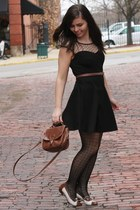 black TJ Maxx dress - brown thrifted purse