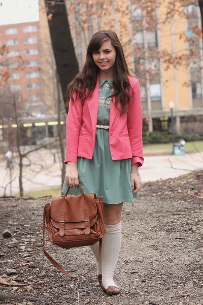 bubble gum thrifted blazer - turquoise blue modcloth dress - brown Forever21 bag