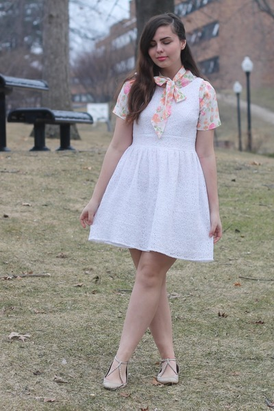 white delias dress - bubble gum vintage blouse - beige pink and pepper flats