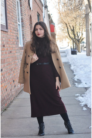 tan Zara coat - black H&M boots - crimson Pull and Bear dress