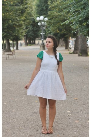 white delias dress - dark green Forever21 shirt - light brown TJ Maxx sandals