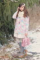 neutral H&M dress - light pink thrifted sweater - bubble gum Platos Closet purse