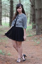 black Forever21 dress - white thrifted jacket - black thrifted heels