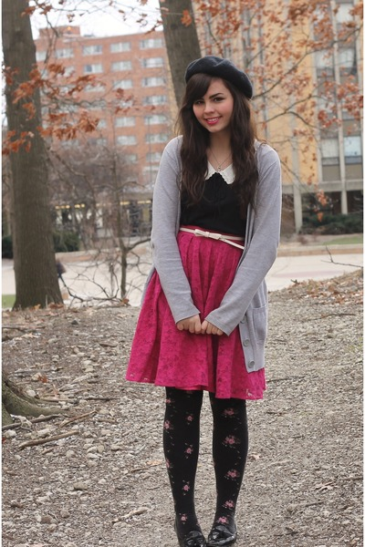 hot pink Forever21 skirt - black Forever21 shirt - silver kohls cardigan