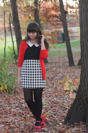 black Forever21 shirt - red Old Navy cardigan - white thrifted skirt