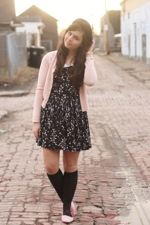 light pink thrifted cardigan - black Forever21 dress