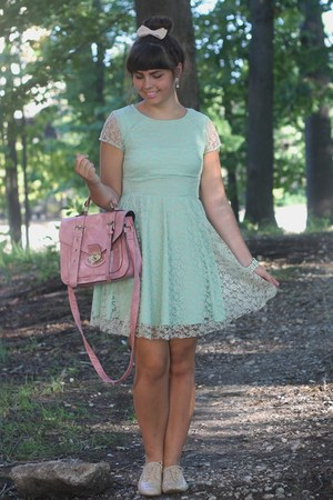 light blue Delias dress - bubble gum thrifted bag - eggshell Forever21 flats