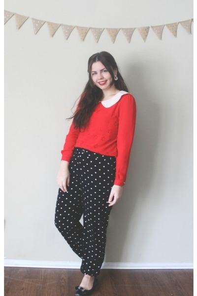 black Forever21 pants - red OASAP shirt - black JCP flats