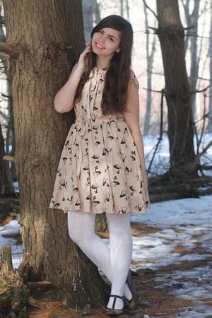 light pink OASAP dress - dark brown thrifted heels