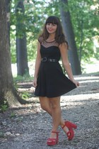 black TJ Maxx dress - ruby red Blowfish wedges