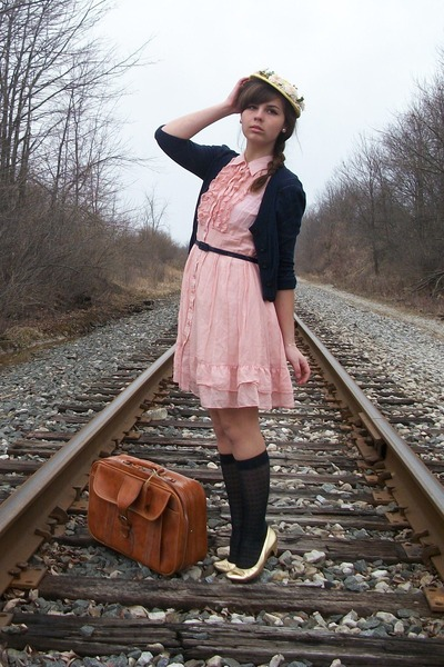 light pink Forever21 dress - gold thrifted hat - navy Forever21 cardigan - gold