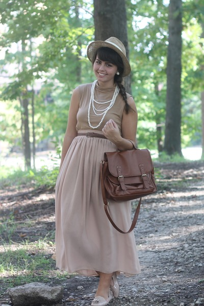 brown Forever21 bag - beige thifted skirt - tan thrifted top
