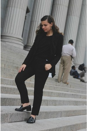 black thrifted shoes - black Forever 21 blazer - black H&M pants