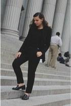 black thrifted shoes - black Forever 21 blazer - black H&M pants