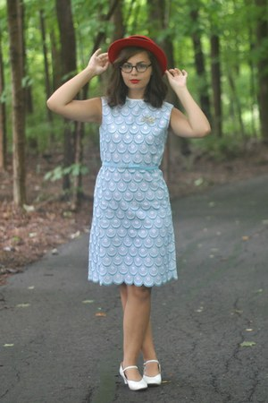 sky blue thrifted dress - red thrifted hat