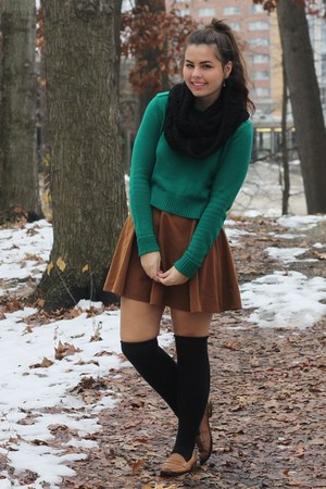 green Forever21 sweater - black OASAP scarf - bronze Forever21 skirt