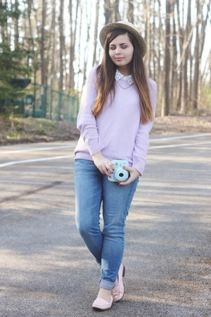 tan thrifted hat - blue Aeropostale jeans - periwinkle LuLus sweater