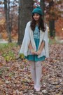 Turquoise-blue-modcloth-dress-white-thrifted-cape-pink-thrifted-flats