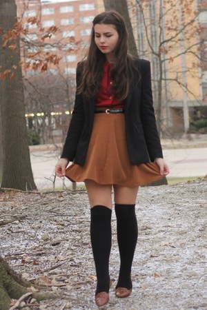 black f21 blazer - ruby red thrifted shirt - tawny f21 skirt