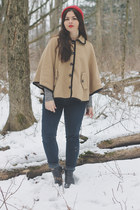 tan Forever21 cape - black thrifted boots - navy Aeropostale jeans