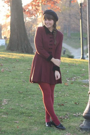 crimson thifted dress - black thrifted loafers