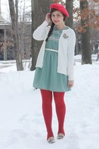 turquoise blue modcloth dress - red Target hat - white thrifted cardigan