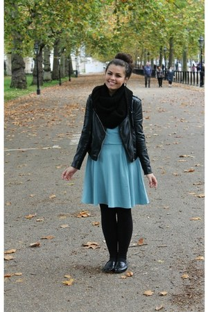black H&M jacket - sky blue H&M dress - black H&M scarf - black TJ Maxx loafers