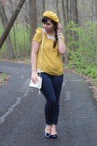 mustard Lulus blouse - mustard Target hat - white thrifted purse
