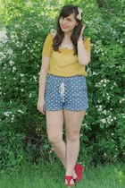 red OASAP wedges - sky blue delias shorts - gold Lulus blouse