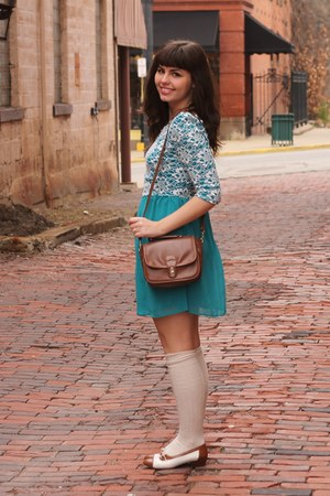 turquoise blue modcloth dress - brown thrifted purse