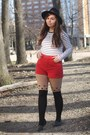 Black-oasap-hat-black-oasap-tights-red-thrifted-shorts-white-forever21-top