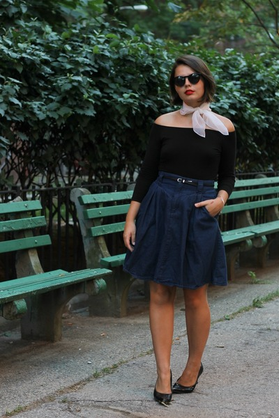 black H&M top - navy thrifted skirt