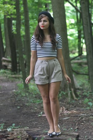 black Cache top - camel thrifted shorts