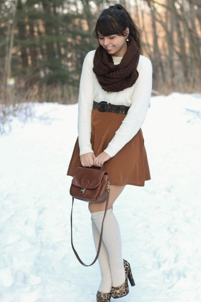 Bronze Forever21 Skirts, Off White Thrifted Sweaters, Dark Brown ...