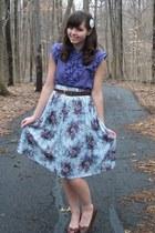 violet Forever21 blouse - ivory thrifted skirt