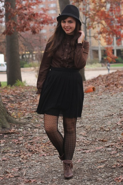 black Target hat - dark brown thrifted boots - black Forever21 skirt