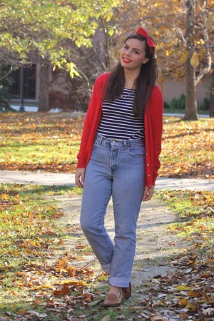 blue thrifted jeans - navy thrifted shirt - red Old Navy cardigan