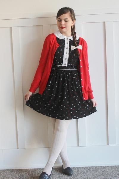 black eShakti dress - red Old Navy cardigan