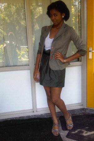 dark green formal H&M skirt - dark khaki A Store blazer - ivory casual H&M shirt
