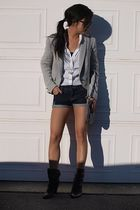 Zara blazer - Jessica Simpson boots - Italy bag - DIY shorts - H&M blouse