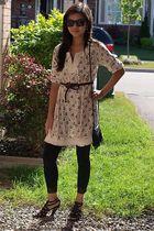 Chanel earrings - Urban Behaviour dress - Forever 21 leggings - Aldo shoes