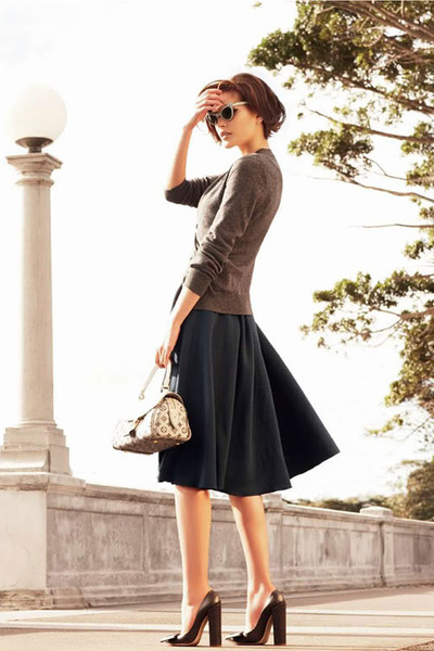 pumps - sweater - bag - sunglasses - skirt