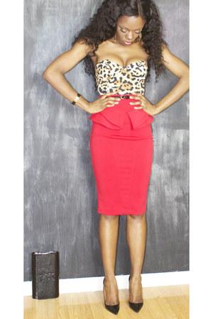 ruby red peplum River Island skirt - black clutch YSL bag