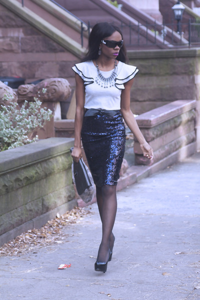 sequins Zara skirt - furry asoscom bag - tribtoo YSL pumps